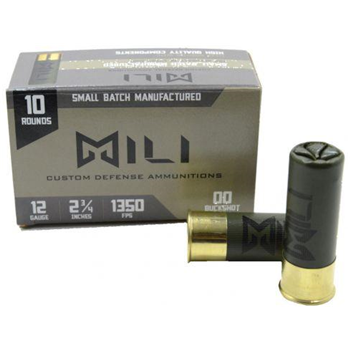 "Mili Custom Defense Ammunition 12ga 00 Buck Shot, 2 3/4"" 10rd Box - $14.99"